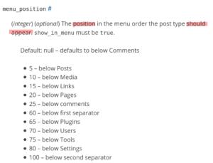 Menu Position Parameter Werte