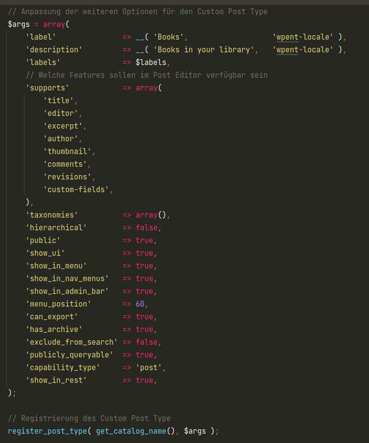 Beispiel Parameter um Post Type zu registrieren