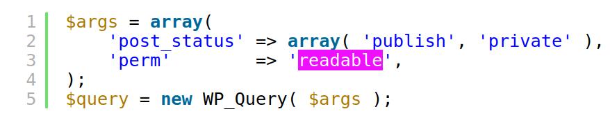 perm Parameter bei der wp_query