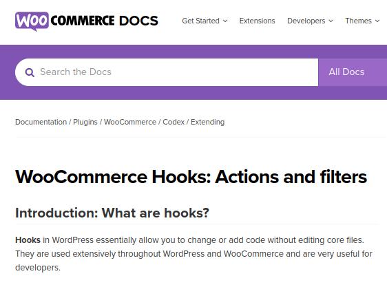 Screenshot der WooCommerce Doku zu Hooks