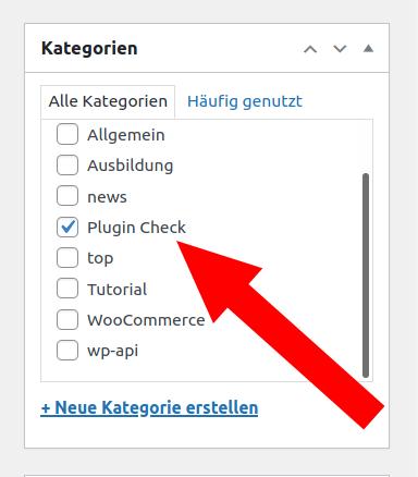Ausgewählte Kategorie im WordPress Backend