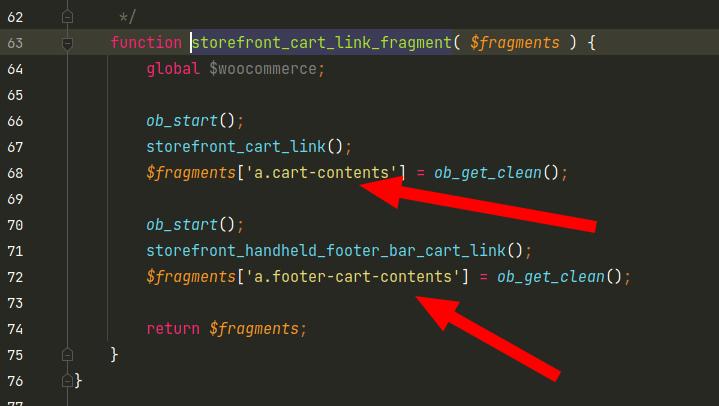 Screenshot der Funktion storefront_cart_link_fragment