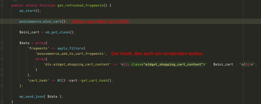 WooCommerce Funktion get_refreshed_fragments in der wc_ajax